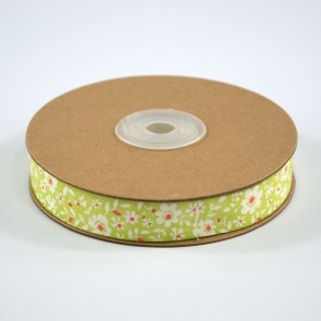 Cotton Ribbon 15mm Daisies Green (18 Metres)