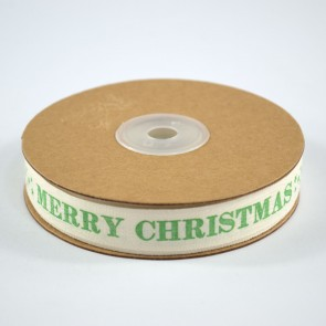 Cotton Ribbon 15mm Merry Christmas Green (18 Metres)