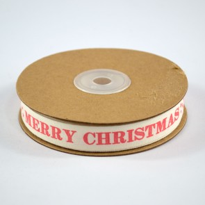 Cotton Ribbon 15mm Merry Christmas Red (18 Metres)