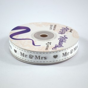 Grossgrain Printed Ribbon 16mm White Mr & Mrs (25 Metres)