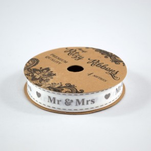 Grossgrain Printed Ribbon 16mm White Mr & Mrs (4 Metres)