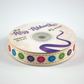 Grossgrain Printed Ribbon 16mm Ivory Buttons (25 Metres)