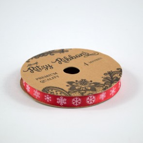 Grossgrain Printed Ribbon 9mm Red Snowflakes (4 Metres)