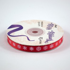 Grossgrain Printed Ribbon 9mm Red Snowflakes (25 Metres)
