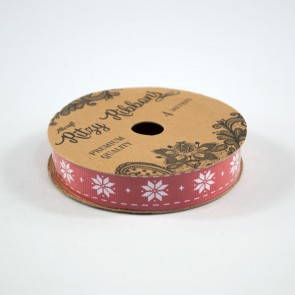 Grossgrain Printed Ribbon 16mm Red Poinsettia (4 Metres)