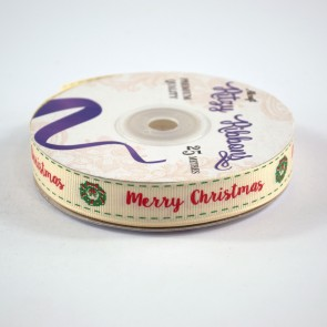 Grossgrain Printed Ribbon 16mm Ivory Merry Christmas (25 Metres)