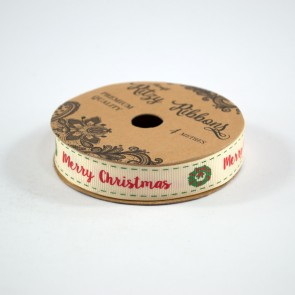 Grossgrain Printed Ribbon 16mm Ivory Merry Christmas (4 Metres)