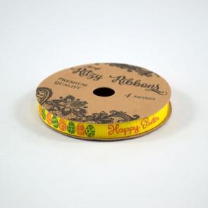 Grossgrain Printed Ribbon 9mm Yellow Happy Easter (4 Metres)