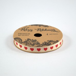 Grossgrain Printed Ribbon 9mm Ivory Hearts Red (4 Metres)