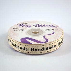 Grossgrain Printed Ribbon 16mm Ivory Handmade (25 Metres)