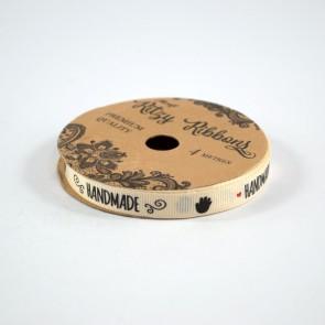 Grossgrain Printed Ribbon 9mm Ivory Handmade (4 Metres)
