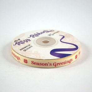 Grossgrain Printed Ribbon 9mm Ivory Seasons Greetings (25 Metres)