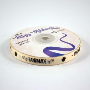 Grossgrain Printed Ribbon 9mm Ivory Handmade (25 Metres)