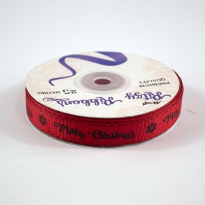 Grossgrain Printed Ribbon 16mm Red Merry Christmas (25 Metres)