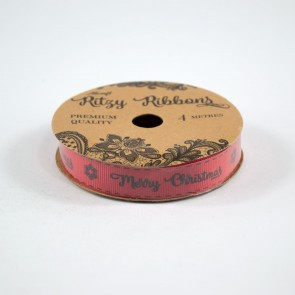 Grossgrain Printed Ribbon 16mm Red Merry Christmas (4 Metres)