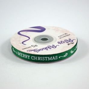 Grossgrain Printed Ribbon 9mm Green Merry Christmas (25 Metres)