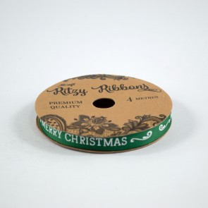 Grossgrain Printed Ribbon 9mm Green Merry Christmas (4 Metres)