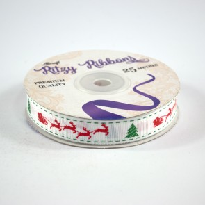 Grossgrain Printed Ribbon 16mm White Santa's Sleigh (25 Metres)