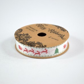Grossgrain Printed Ribbon 16mm White Santa's Sleigh (4 Metres)