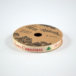 Grossgrain Printed Ribbon 9mm Ivory Happy Christmas (4 Metres)