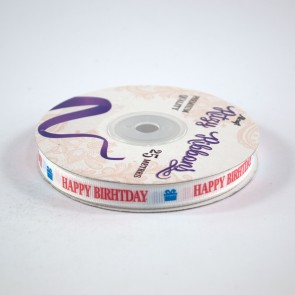 Grossgrain Printed Ribbon 9mm White Happy Birthday (25 Metres)