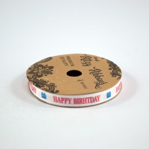 Grossgrain Printed Ribbon 9mm White Happy Birthday (4 Metres)