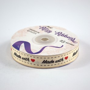 Grossgrain Printed Ribbon 16mm Ivory Made with Love (25 Metres)