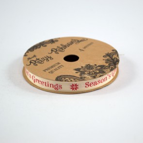Grossgrain Printed Ribbon 9mm Ivory Seasons Greetings (4 Metres)