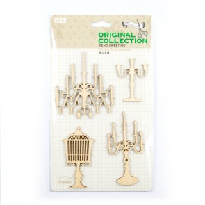 Lasercut Wood Shapes Candles & Chandeliers (4 Pieces)
