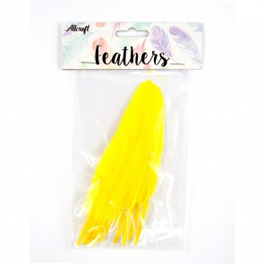 Duck Feather 13cm Yellow (15 Pack)