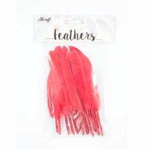 Duck Feather 13cm Red (15 Pack)