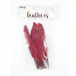 Duck Feather 13cm Burgandy (15 Pack)
