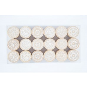 Rubber Stamp Round Floral ?mm (18 Pieces)