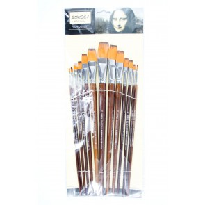 Artist Brush Synthetic Flat Long Handle (13 Pieces)