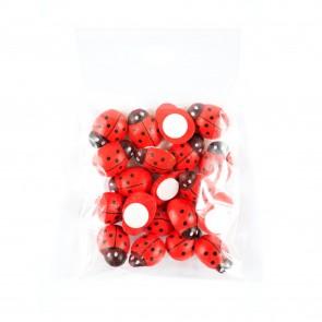 Wood Ladybug 1.5cm (20 Pack) Sticky