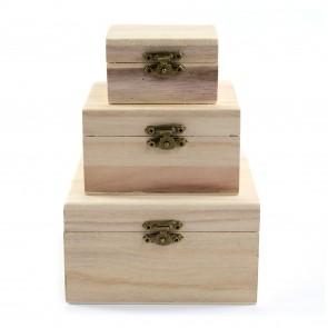 Wood Box Rectangle Set of 3 (7.5-13cm)