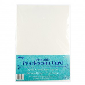 Printable Pearlescent A4 Card 300gsm White (20 Pack)