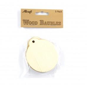 Wood Baubles 7.5cm (5 Pack)