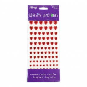 Adhesive Gemstones Heart Red (87 Pieces)