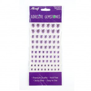 Adhesive Gemstones Heart Lilac (87 Pieces)