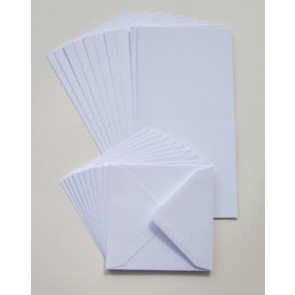 "6x6"" Cards & Envelopes 300gsm White (40 Pack)"