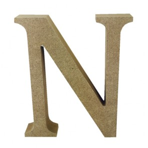 Wood Letter 11cm Natural N