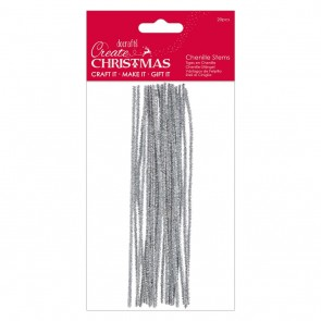 Metallic Chenille Stems (20pcs) - Silver - Create Christmas