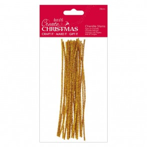 Metallic Chenille Stems (20pcs) - Gold - Create Christmas