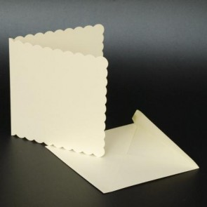 "5x5"" Cards & Envelopes Scalloped Ivory (50 Pack)"