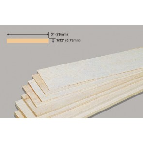 Balsa Wood Sheet - 1/32 x 3 x 36""