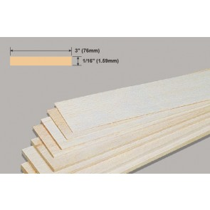 Balsa Wood Sheet - 1/16 x 3 x 36""