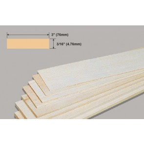 Balsa Wood Sheet - 3/16 x 3 x 36""