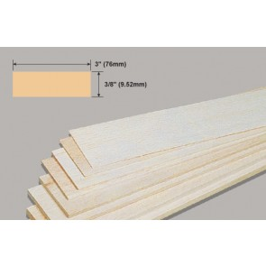Balsa Wood Sheet - 3/8 x 3 x 36""