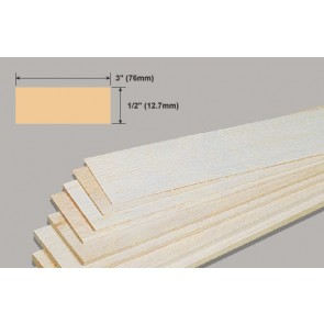 Balsa Wood Sheet - 1/2 x 3 x 36""